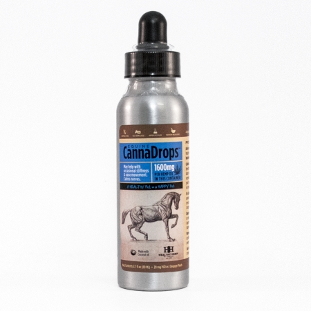 Healthy Hemp Pet Company Equine CannaDrops in barn friendly bottle