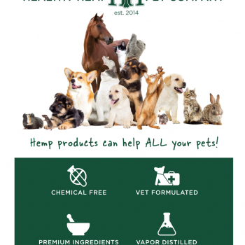 Healthy Hemp Pet Company's Hemp Products can help ALL your pets poster